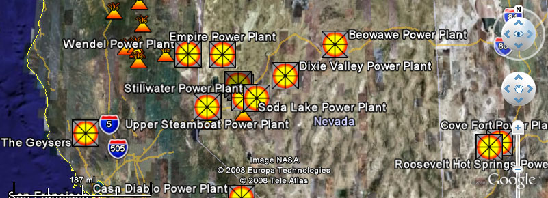 Google Earth View of Geothermal Power Facilities