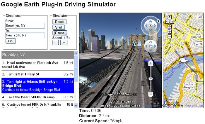 Google Earth Plug-in Driving Simulator on Brooklyn Bridge