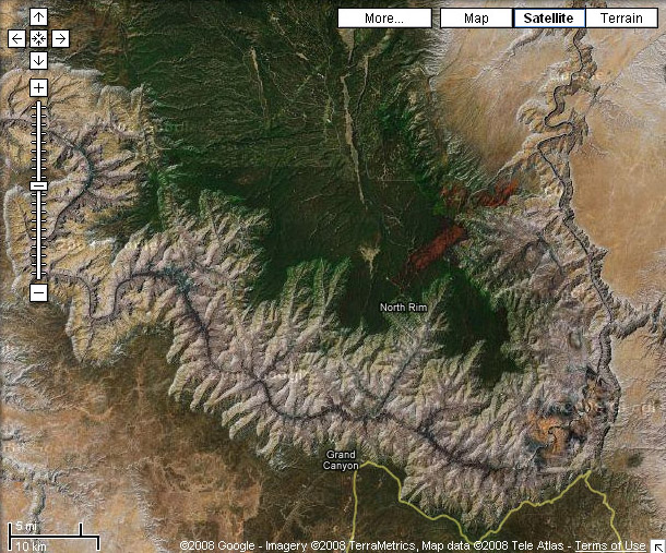 Google Maps - Grand Canyon in Satellite View