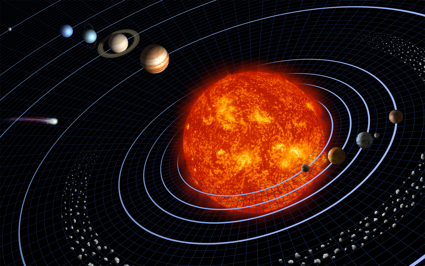 artist rendition of solar system bodies not to scale originally