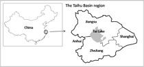 Figure 1: Location of the Taihu Basin in east China